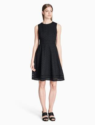 Calvin Klein eyelet fit + flare dress