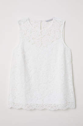 H&M Sleeveless Lace Top - White