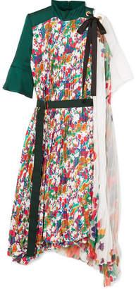 Sacai Draped Pleated Floral-print Satin And Chiffon Midi Dress - Forest green