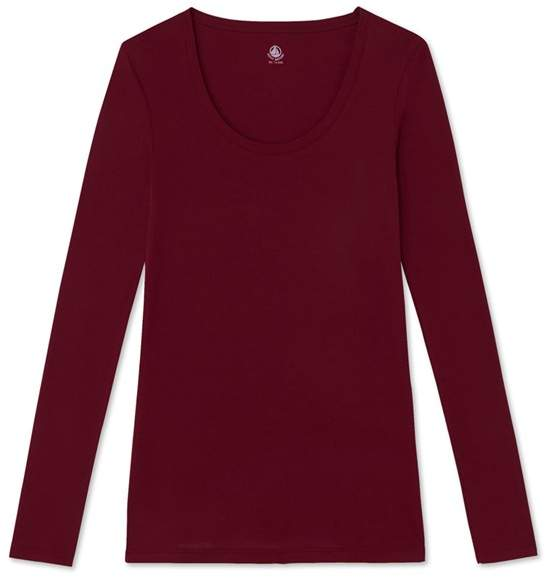 Womens long-sleeved scoop neck T-shirt in light cotton
