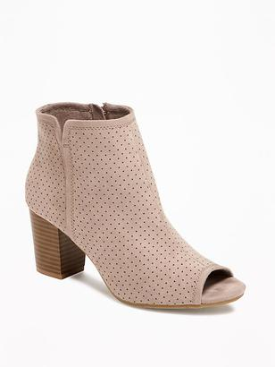 Sueded Peep-Toe Ankle Boots for Women $44.94 thestylecure.com