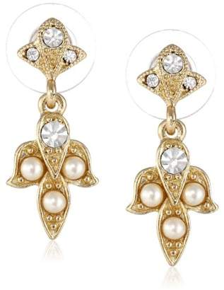 """Downton Abbey """"Carded"""" Gold-Tone White Simulated Pearl and Crystal Drop Earrings"""