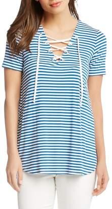 Karen Kane Lace-Up Stripe Top