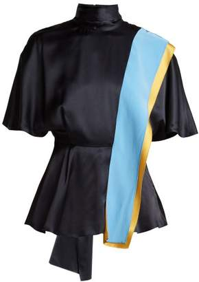 Roksanda Contrast Panel Draped Silk Top - Womens - Blue Multi