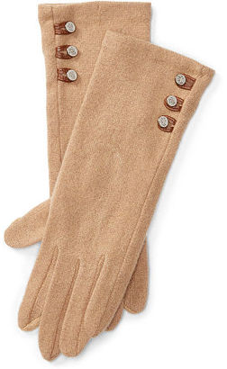 Ralph Lauren Buttoned Touch Screen Gloves $50 thestylecure.com