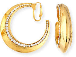 Jose & Maria Barrera Beaded Golden Clip-On Hoop Earrings