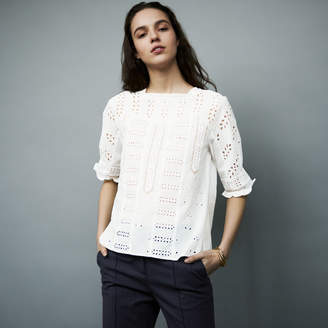 Maje Embroidered cotton top