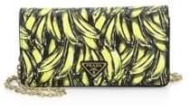 Prada Mini Borse Banana Print Saffiano Leather Crossbody Bag