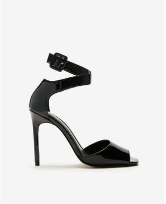 Express patent square toe heeled sandals