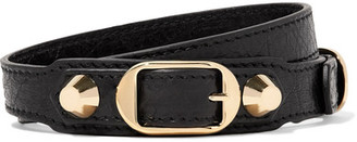Balenciaga - Arena Textured-leather And Gold-tone Bracelet - Black $250 thestylecure.com