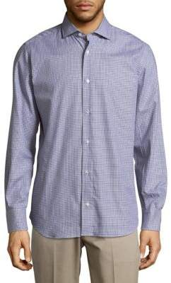 Eleventy Spread Check Cotton Casual Button-Down Shirt
