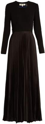 Diane von Furstenberg V-neck pleated-satin dress