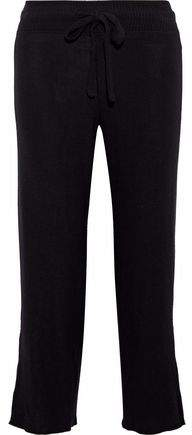 Brushed Aria Cropped Cutout Stretch-Tencel Straight-Leg Pants