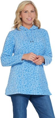 Denim & Co. Regular Animal Print Fleece Tunic w/ Hood and Pockets