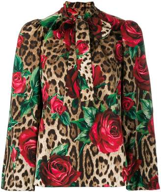 Dolce & Gabbana leopard and rose print blouse