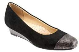 Trotters Langley Leather and Suede Wedge Pumps