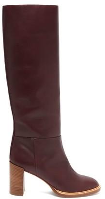 Gabriela Hearst Bocca Knee High Leather Boots - Womens - Burgundy