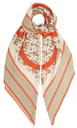 Loewe Anagram Logo Paisley Print Silk Scarf - Womens - Beige