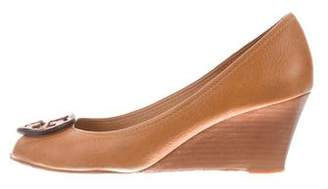 Tory Burch Leather Logo-Accented Wedges