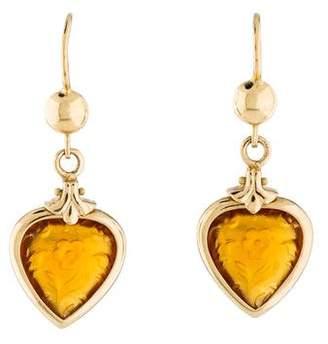 14K Etched Crystal Heart Earrings