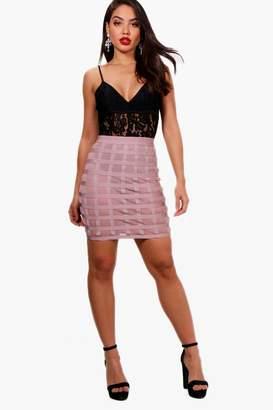 boohoo Premium Heavy Bandage Mesh Mini Skirt