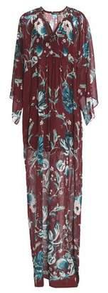 Roberto Cavalli Split-Front Floral-Print Silk-Chiffon Kaftan