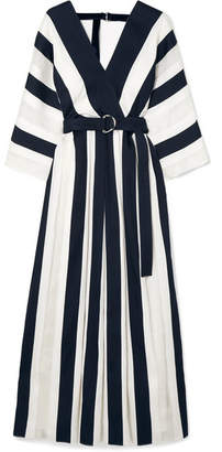 ADAM by Adam Lippes Belted Striped Cotton And Silk-blend Midi Dress - Midnight blue