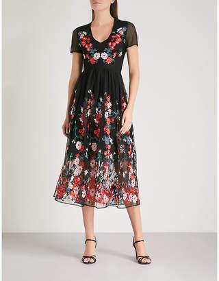 Maje Raphael floral-embroidered tulle midi dress