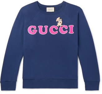 Gucci Embroidered Logo-Print Loopback Cotton-Jersey Sweatshirt