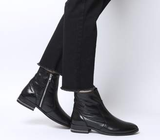 0488af37336 Office Ashleigh Flat Ankle Boots Black Leather With Chain