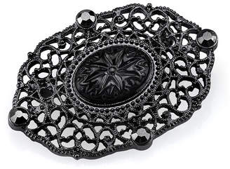 Black-Tone Belle Epoch Oval Filigree Bar Pin with Black Carved Center Stone