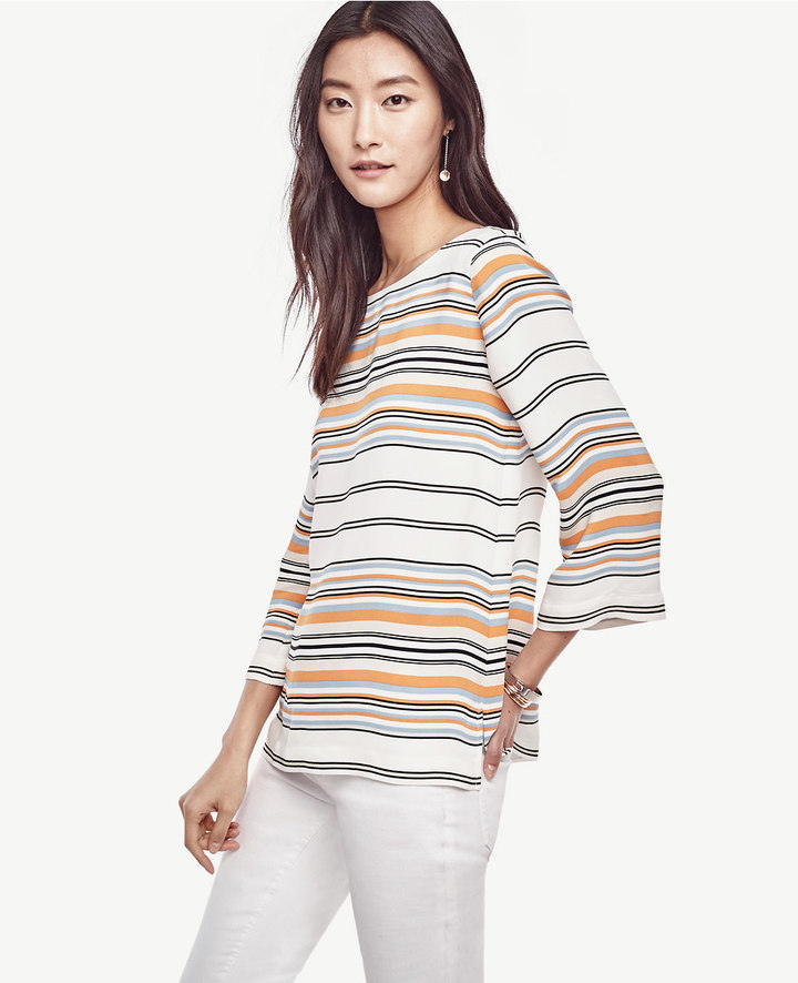 Ann Taylor Striped Crepe Top