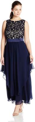 Eliza J Women's Plus-Size Sleeveless Lace Bodice with Long Chiffon Skirt