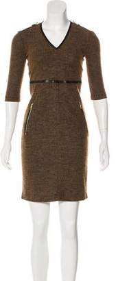 Burberry Leather-Trimmed Mini Dress