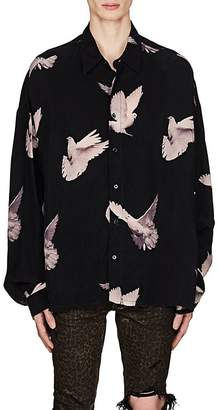 Amiri Men's Dove-Print Satin Oversized Shirt