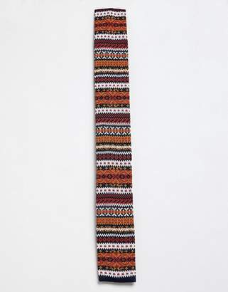 Moss Bros knitted tie with fairisle design