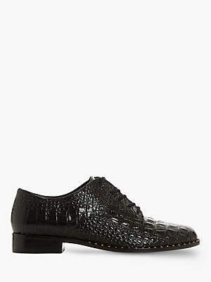 Dune Francisco Lace Up Brogue Shoes, Black Leather