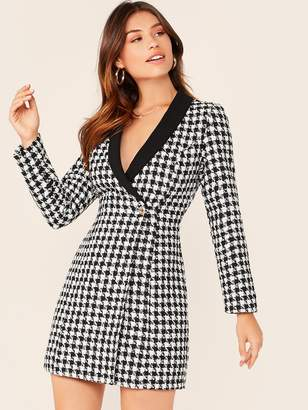 Shein Shawl Collar Wrap Button Front Plaid Blazer Tweed Dress