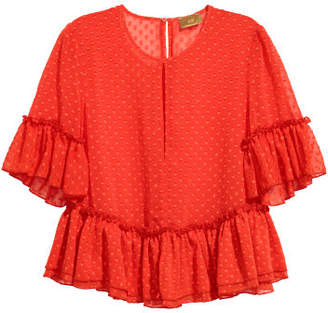 H&M Blouse with Flounces - Red