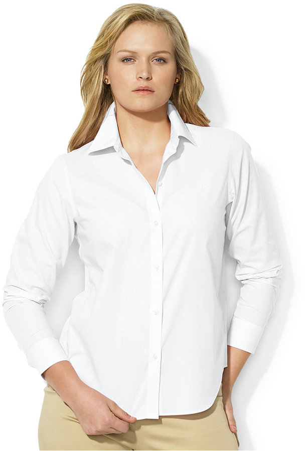 Lauren ralph lauren plus size wrinkle free oxford dress for Best wrinkle free dress shirts
