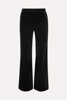 ALEXACHUNG Satin-trimmed Cotton-velvet Pants - Black