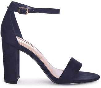 9347ccd74b Linzi Nelly Navy Suede Single Sole Block Heels