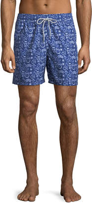 Blueport Swim On Time Clock-Print Swim Shorts, Blue