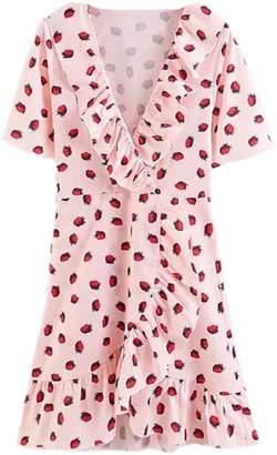 Goodnight Macaroon 'Ivory' Strawberry Print Ruffle Wrap Mini Dress