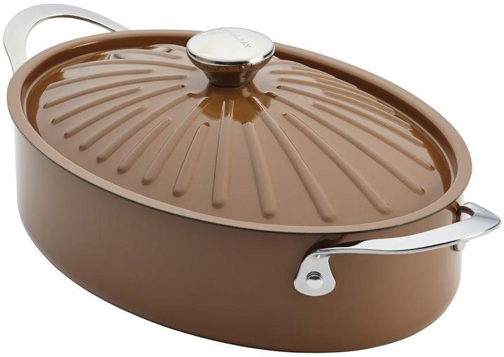 Rachael Ray Cucina Oven-To-Table Hard Enamel Nonstick 5 qt. Covered Oval Sauteuse in Mushroom Brown