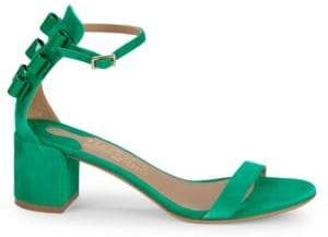 6eef00bf1e1 Salvatore Ferragamo Connie Block Heel Suede Sandals