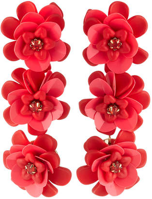 Lydell NYC Triple Flower-Drop Earrings, Pink