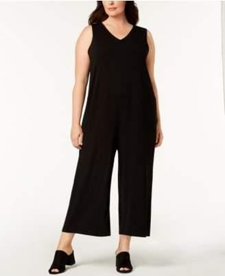 Eileen Fisher Plus Size Stretch Jersey Wide-Leg Jumpsuit