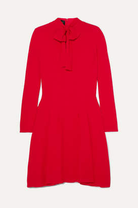 Giambattista Valli Pussy-bow Pleated Crepe Dress - Red