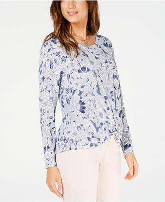 Style&Co. Style & Co Petite Printed Twist-Front Top